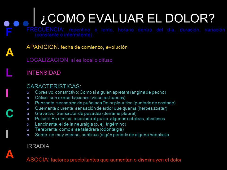 ¿COMO EVALUAR EL DOLOR F A L I C