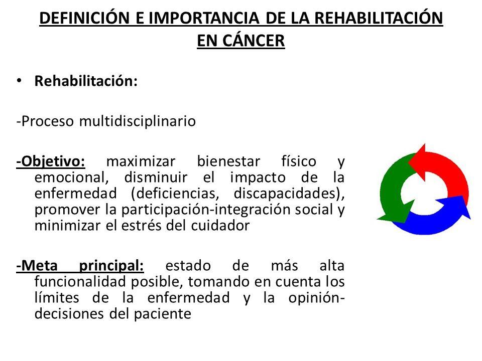 DEFINICIÓN E IMPORTANCIA DE LA REHABILITACIÓN EN CÁNCER