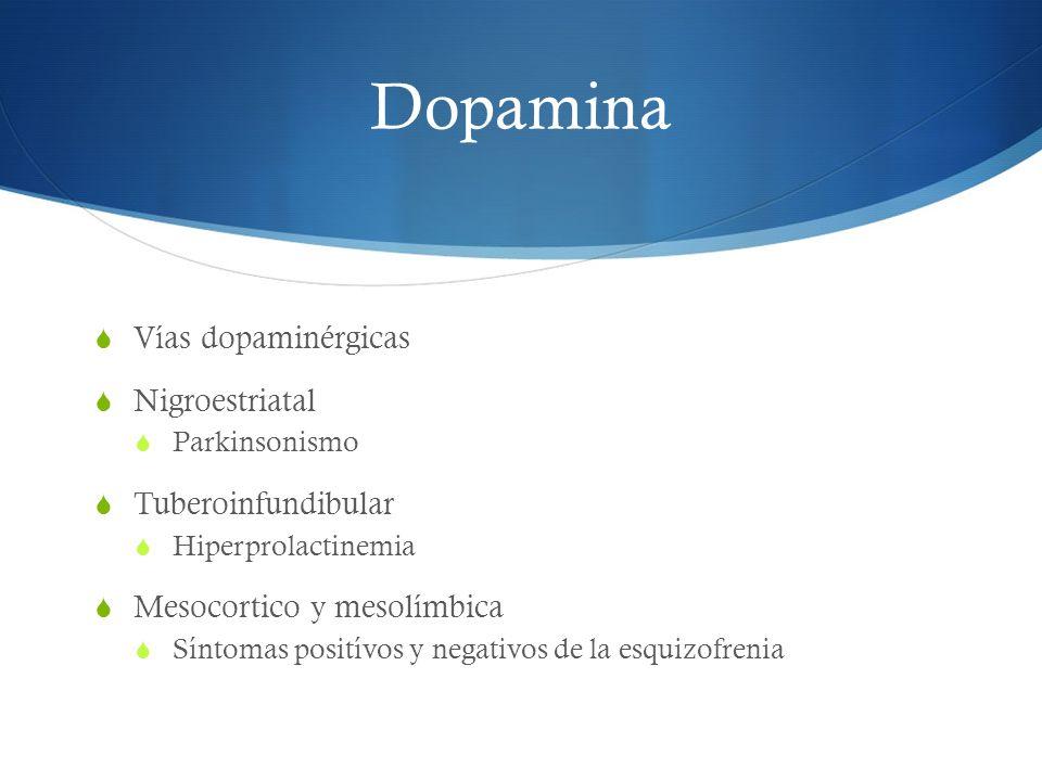 Dopamina Vías dopaminérgicas Nigroestriatal Tuberoinfundibular