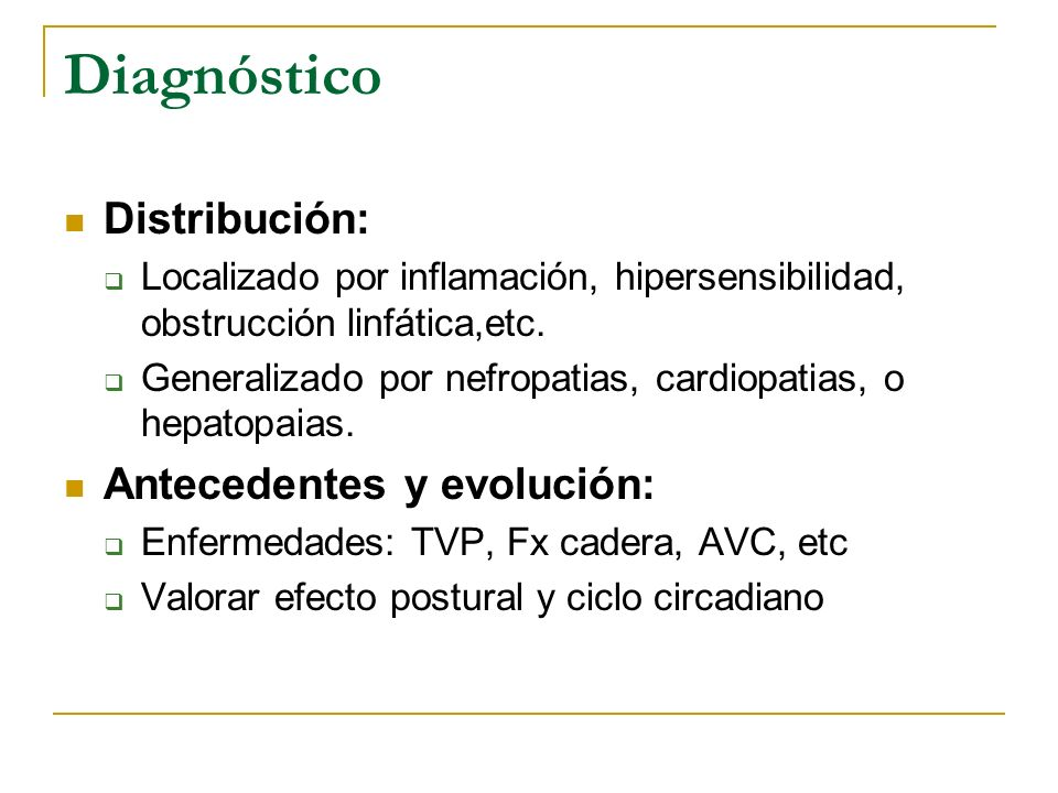 Diagnóstico Distribución: Antecedentes y evolución:
