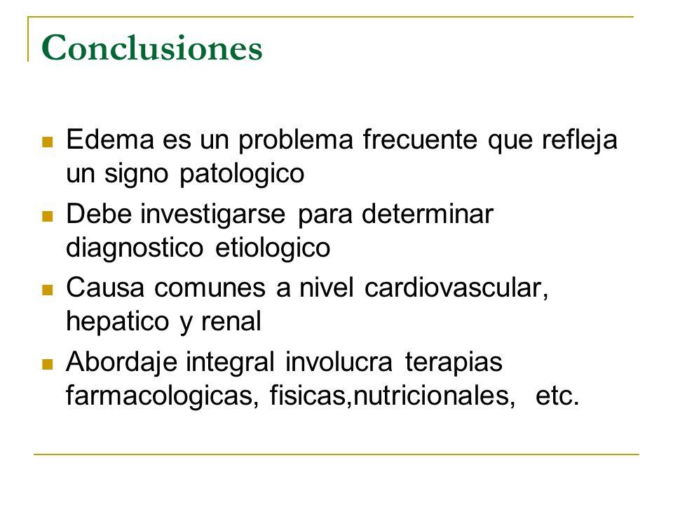 Conclusiones Edema es un problema frecuente que refleja un signo patologico. Debe investigarse para determinar diagnostico etiologico.