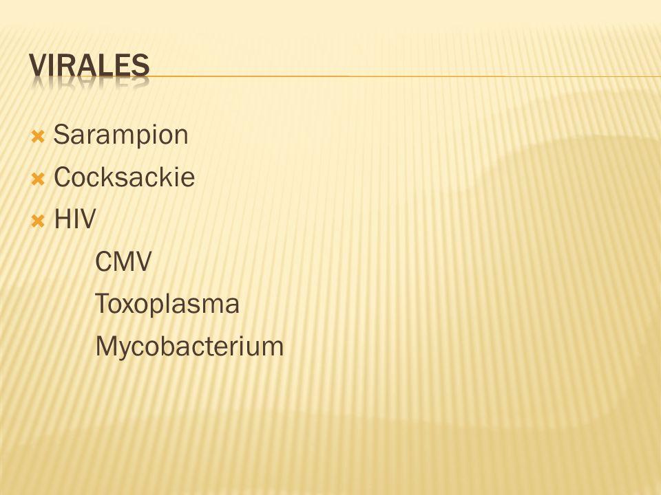 Virales Sarampion Cocksackie HIV CMV Toxoplasma Mycobacterium