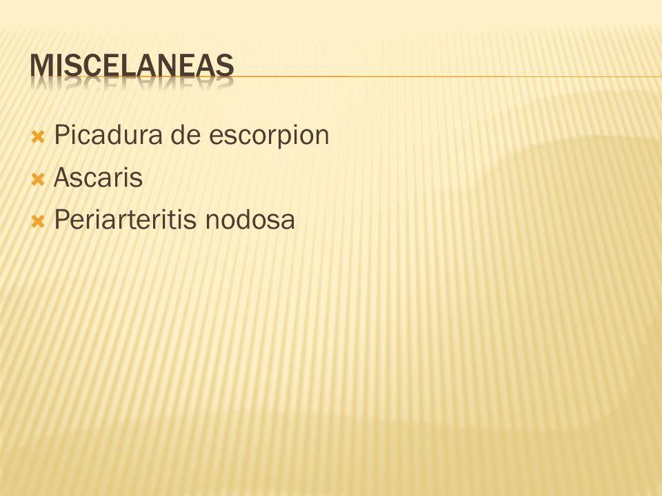 Miscelaneas Picadura de escorpion Ascaris Periarteritis nodosa