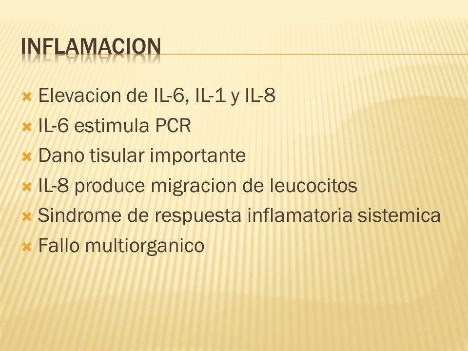Inflamacion Elevacion de IL-6, IL-1 y IL-8 IL-6 estimula PCR