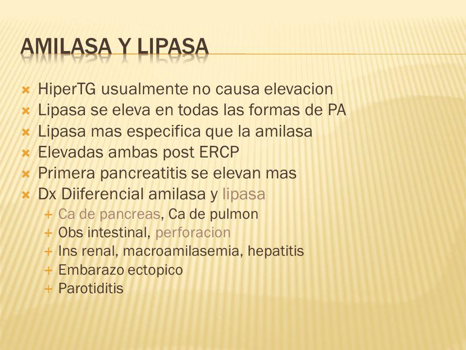 Amilasa y Lipasa HiperTG usualmente no causa elevacion