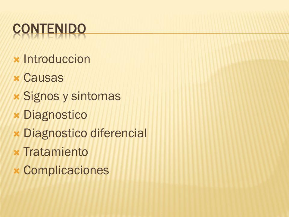Contenido Introduccion Causas Signos y sintomas Diagnostico