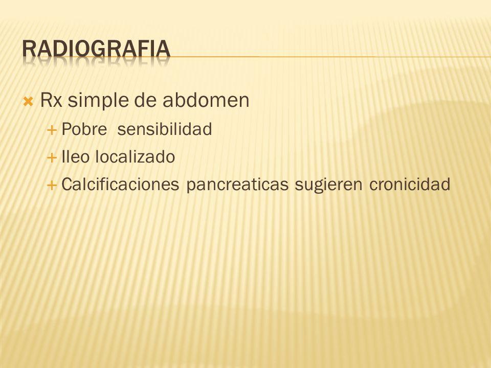 Radiografia Rx simple de abdomen Pobre sensibilidad Ileo localizado
