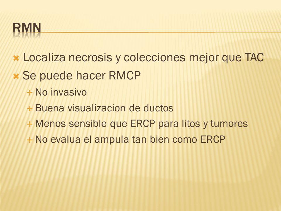 RMN Localiza necrosis y colecciones mejor que TAC Se puede hacer RMCP