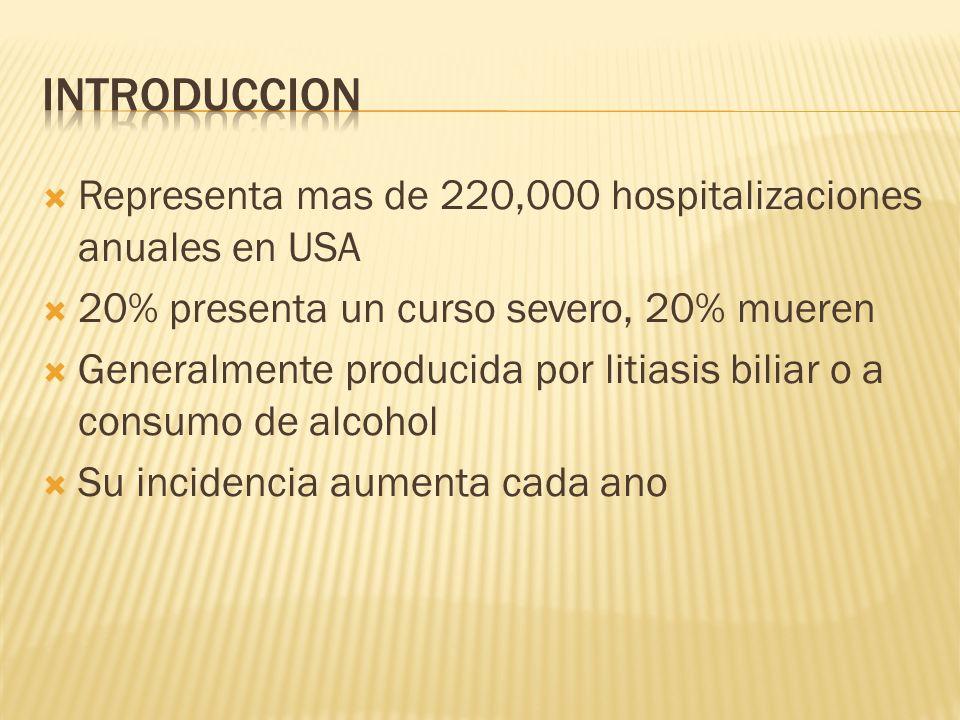 Introduccion Representa mas de 220,000 hospitalizaciones anuales en USA. 20% presenta un curso severo, 20% mueren.