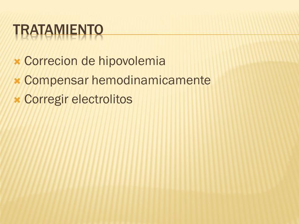 Tratamiento Correcion de hipovolemia Compensar hemodinamicamente