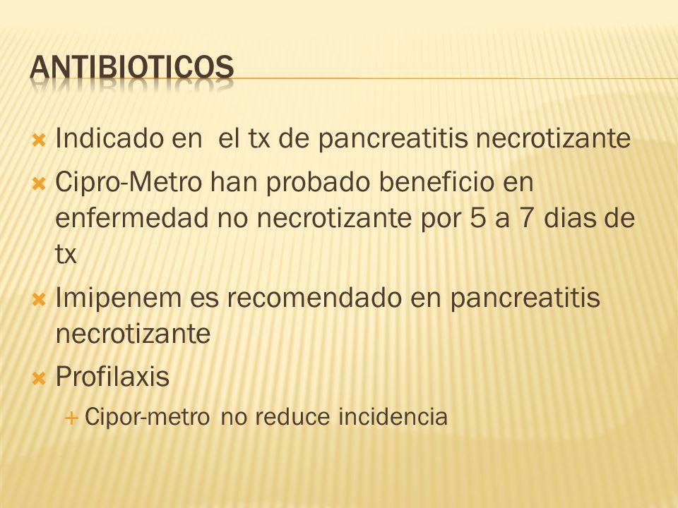 Antibioticos Indicado en el tx de pancreatitis necrotizante
