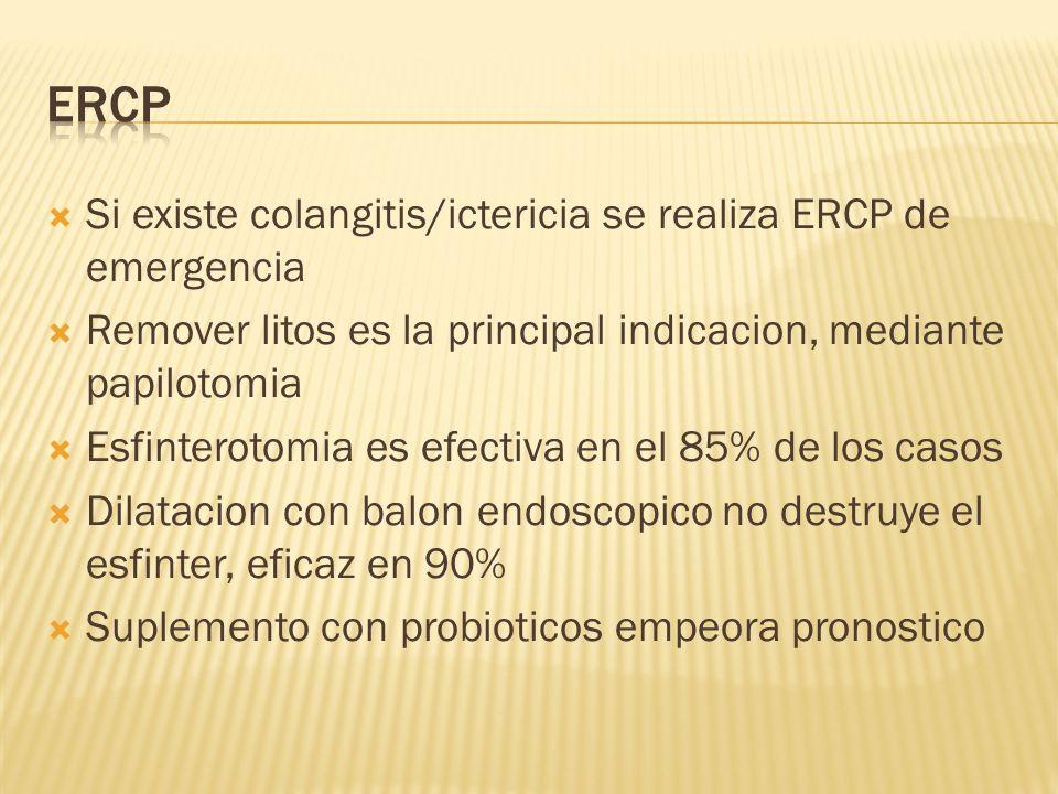 ERCP Si existe colangitis/ictericia se realiza ERCP de emergencia