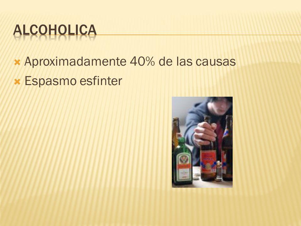 Alcoholica Aproximadamente 40% de las causas Espasmo esfinter