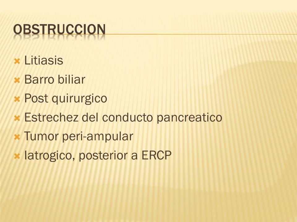 Obstruccion Litiasis Barro biliar Post quirurgico