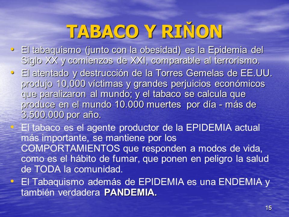 TABACO Y RIŇON El tabaquismo (junto con la obesidad) es la Epidemia del Siglo XX y comienzos de XXI, comparable al terrorismo.