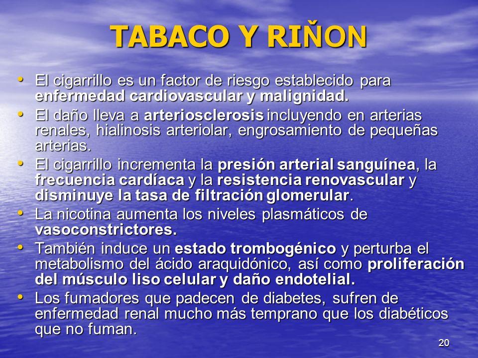 TABACO Y RIŇON El cigarrillo es un factor de riesgo establecido para enfermedad cardiovascular y malignidad.