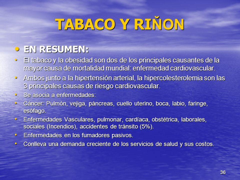 TABACO Y RIŇON EN RESUMEN: