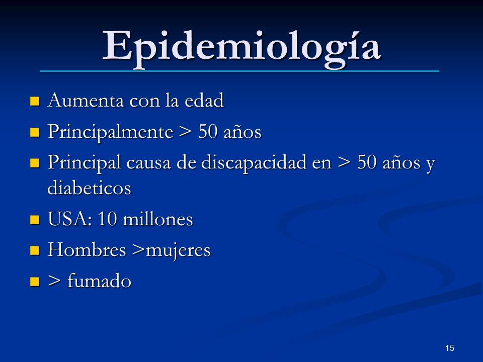 Epidemiología Aumenta con la edad Principalmente > 50 años