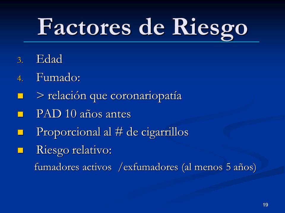 Factores de Riesgo Edad Fumado: > relación que coronariopatía