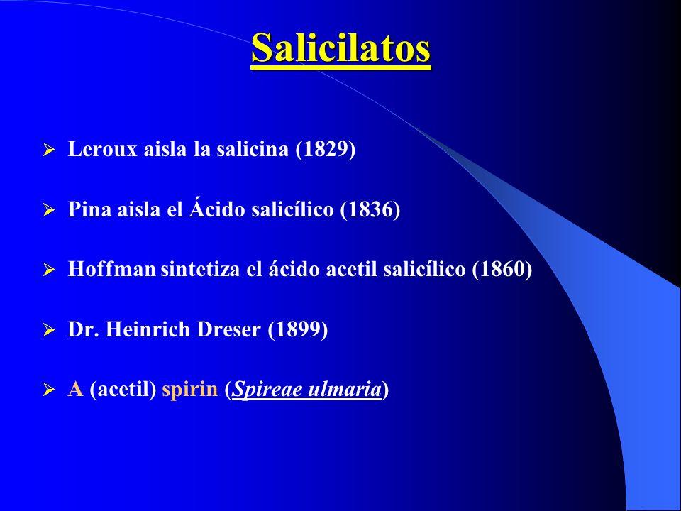 Salicilatos Leroux aisla la salicina (1829)