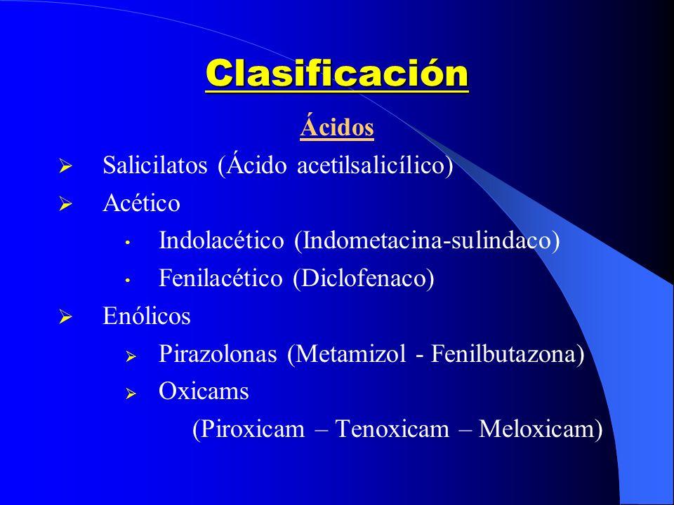 Clasificación Ácidos Salicilatos (Ácido acetilsalicílico) Acético