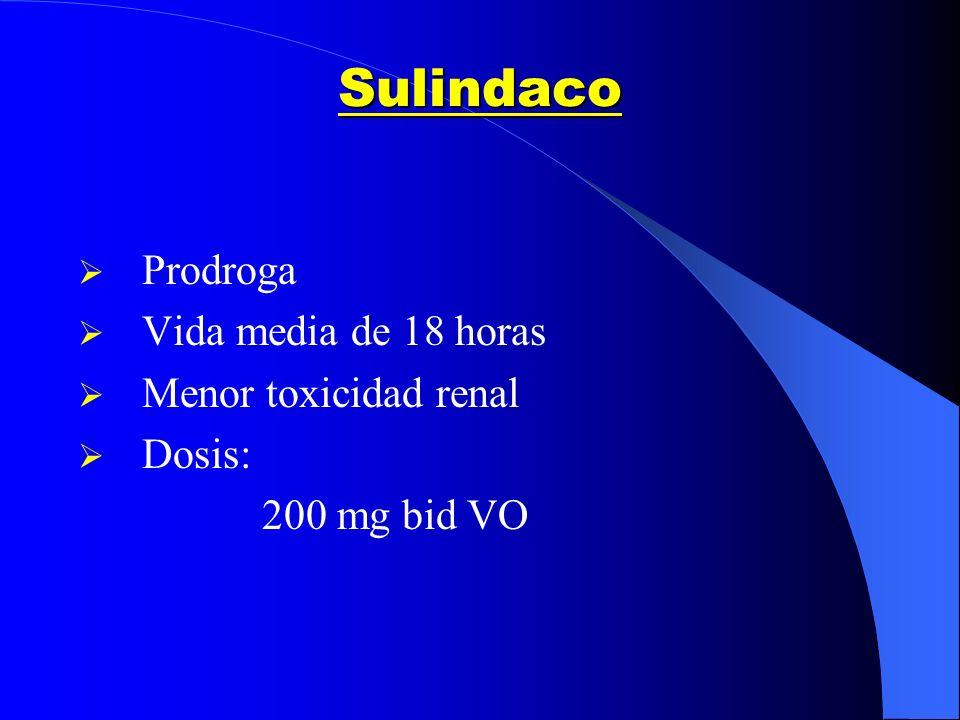 Sulindaco Prodroga Vida media de 18 horas Menor toxicidad renal Dosis:
