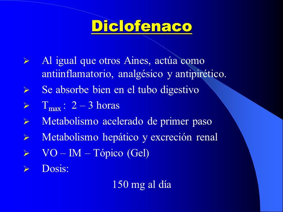 Diclofenaco Al igual que otros Aines, actúa como antiinflamatorio, analgésico y antipirético. Se absorbe bien en el tubo digestivo.