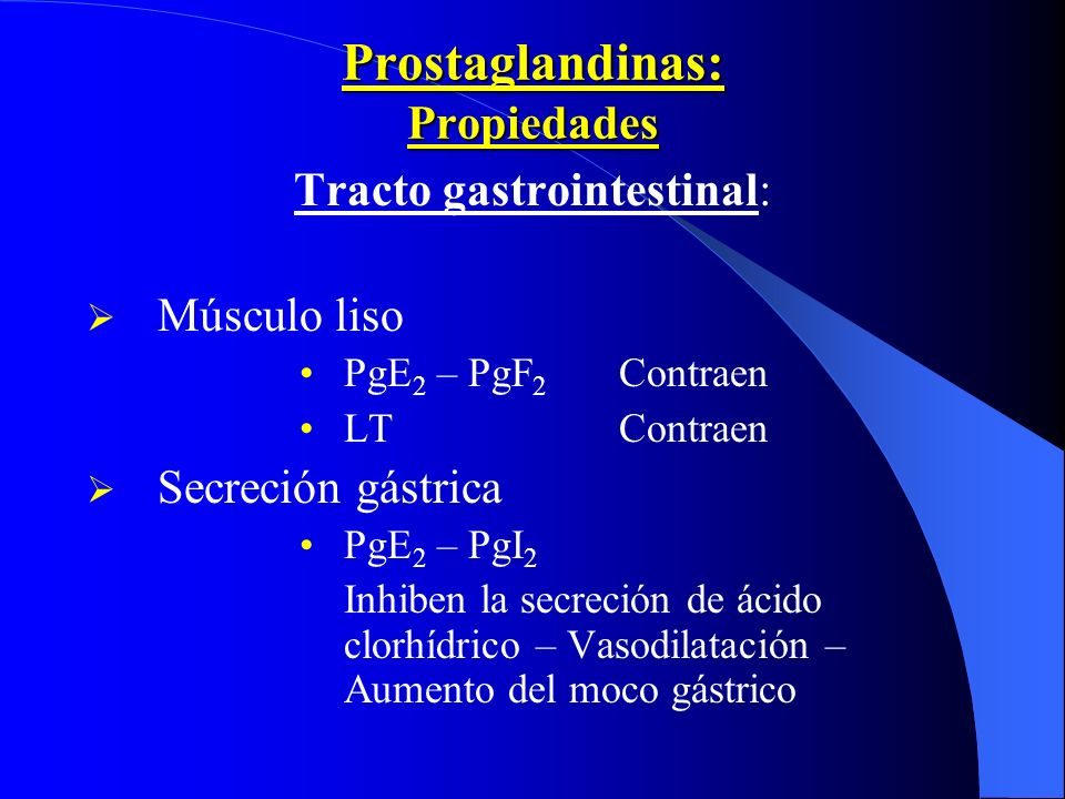 Prostaglandinas: Propiedades