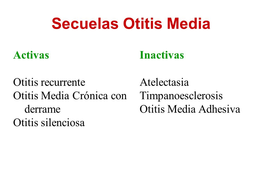 Secuelas Otitis Media Activas Otitis recurrente