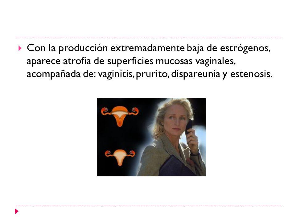 Con la producción extremadamente baja de estrógenos, aparece atrofia de superficies mucosas vaginales, acompañada de: vaginitis, prurito, dispareunia y estenosis.