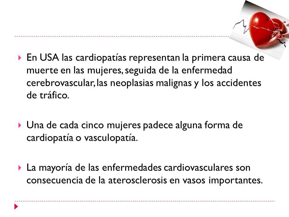 En USA las cardiopatías representan la primera causa de muerte en las mujeres, seguida de la enfermedad cerebrovascular, las neoplasias malignas y los accidentes de tráfico.