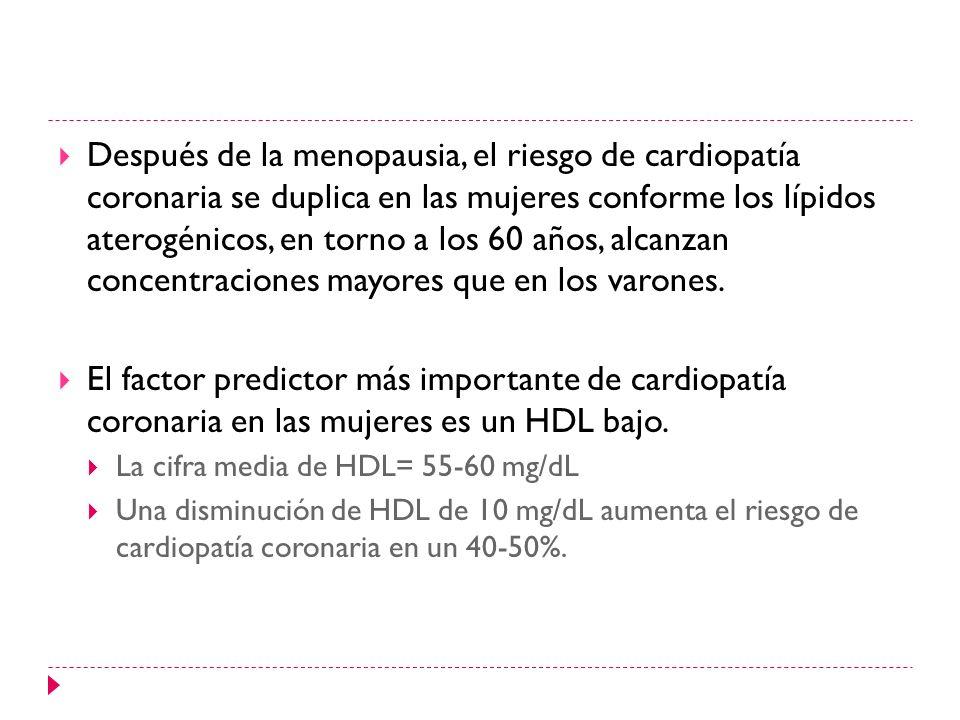 Después de la menopausia, el riesgo de cardiopatía coronaria se duplica en las mujeres conforme los lípidos aterogénicos, en torno a los 60 años, alcanzan concentraciones mayores que en los varones.