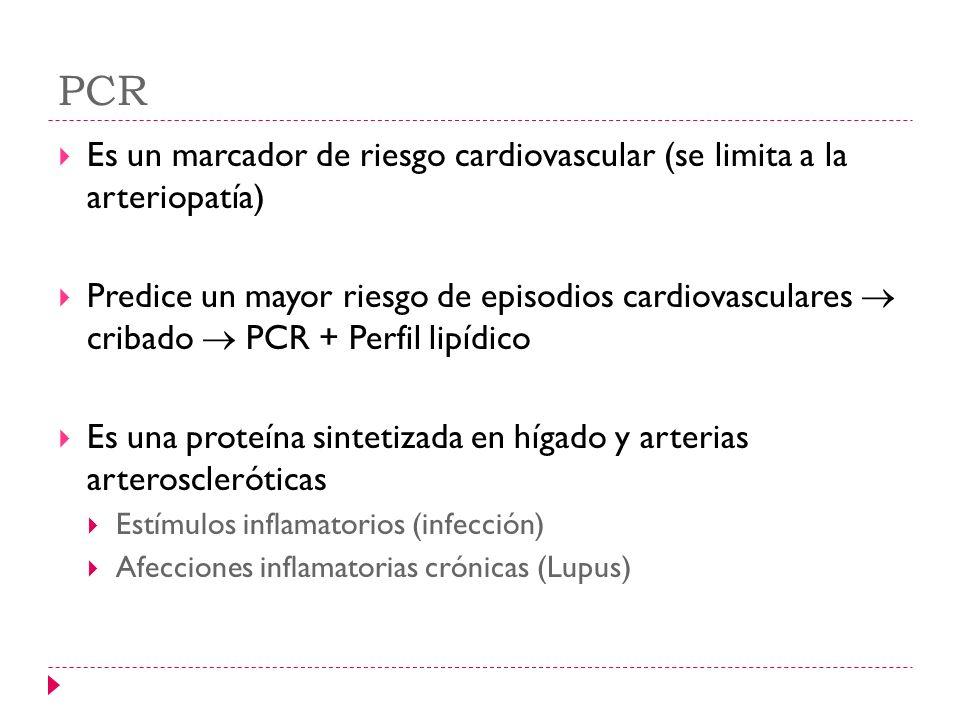 PCR Es un marcador de riesgo cardiovascular (se limita a la arteriopatía)