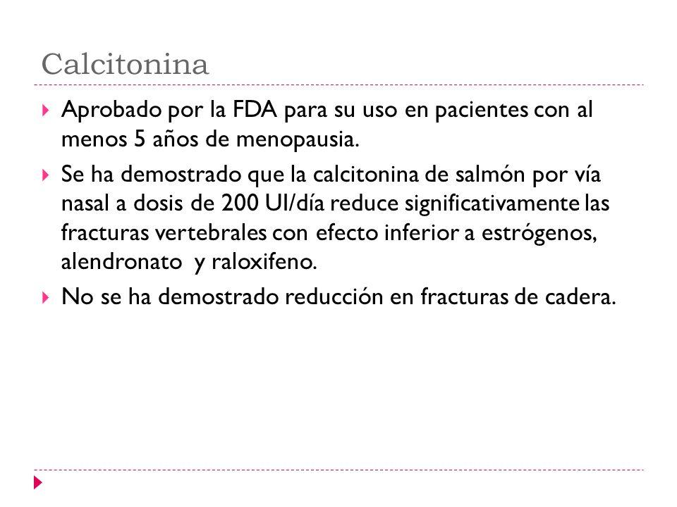 Calcitonina Aprobado por la FDA para su uso en pacientes con al menos 5 años de menopausia.