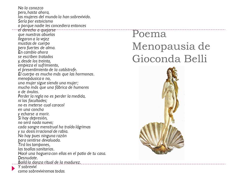 Poema Menopausia de Gioconda Belli