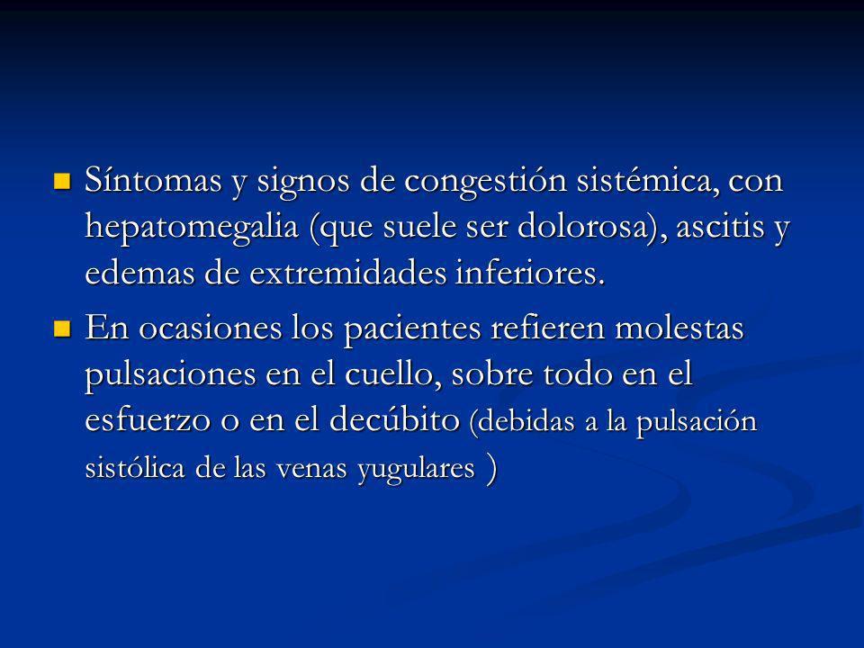 Síntomas y signos de congestión sistémica, con hepatomegalia (que suele ser dolorosa), ascitis y edemas de extremidades inferiores.