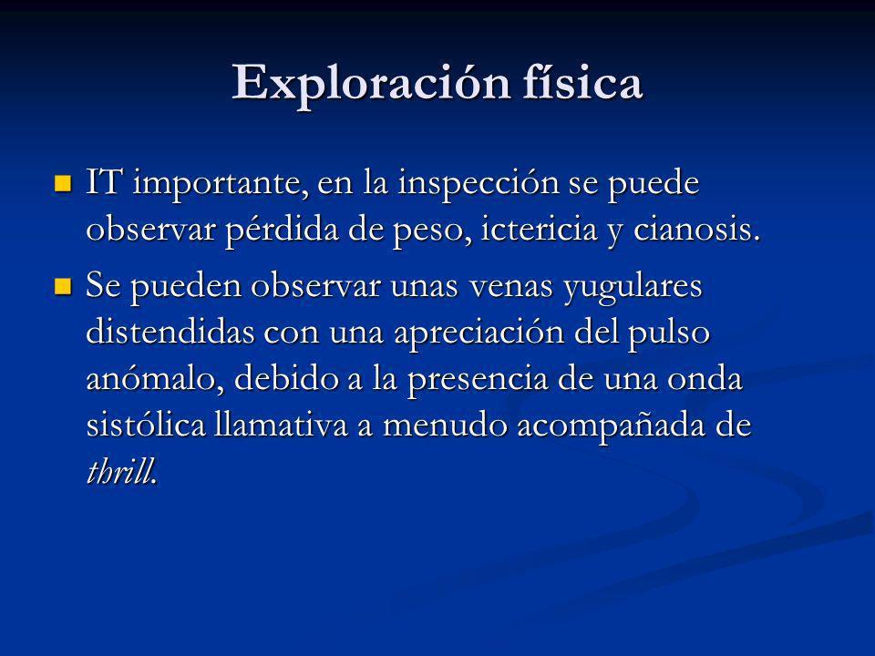 Exploración física IT importante, en la inspección se puede observar pérdida de peso, ictericia y cianosis.