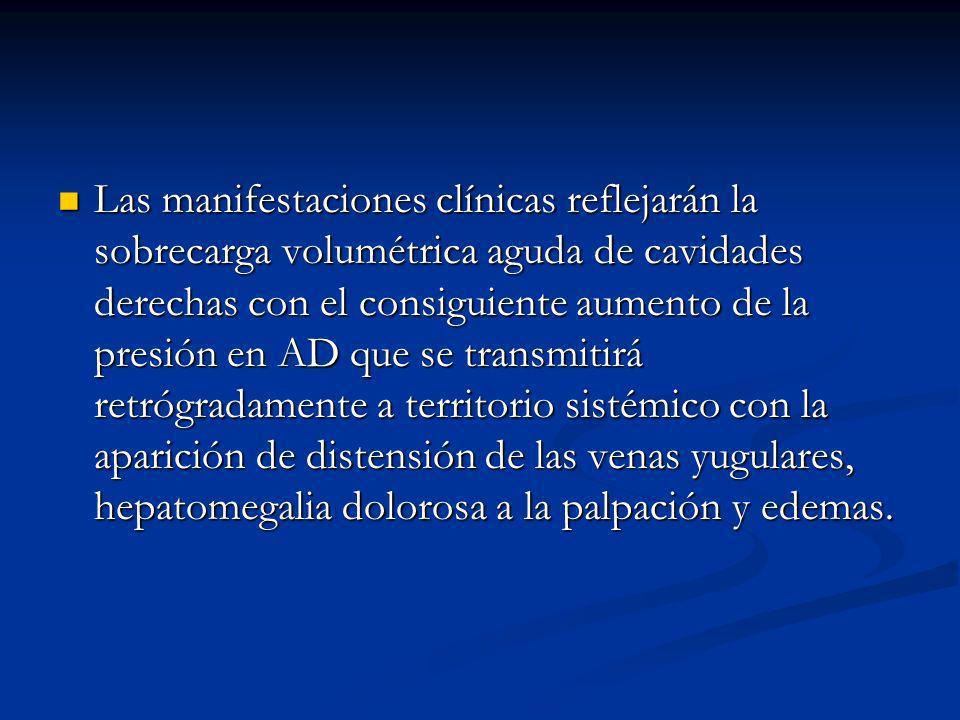 Las manifestaciones clínicas reflejarán la sobrecarga volumétrica aguda de cavidades derechas con el consiguiente aumento de la presión en AD que se transmitirá retrógradamente a territorio sistémico con la aparición de distensión de las venas yugulares, hepatomegalia dolorosa a la palpación y edemas.