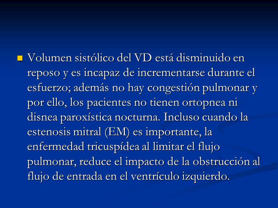 Volumen sistólico del VD está disminuido en reposo y es incapaz de incrementarse durante el esfuerzo; además no hay congestión pulmonar y por ello, los pacientes no tienen ortopnea ni disnea paroxística nocturna.