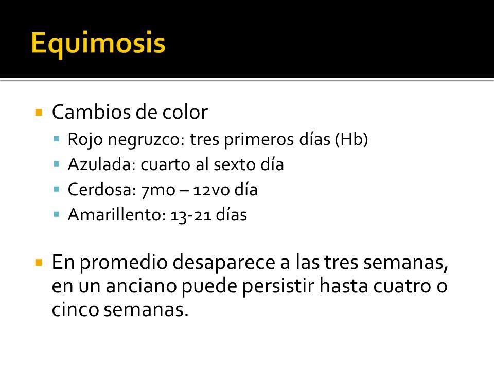 Equimosis Cambios de color