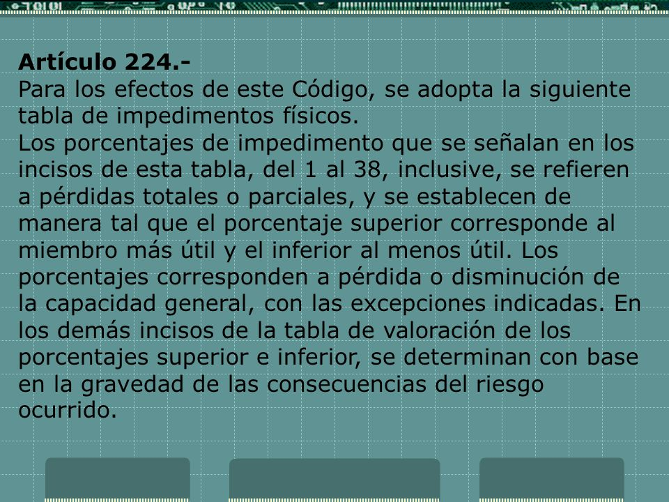 Artículo 224.- Para los efectos de este Código, se adopta la siguiente tabla de impedimentos físicos.