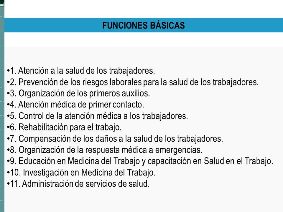 FUNCIONES BÁSICAS 1. Atención a la salud de los trabajadores. 2. Prevención de los riesgos laborales para la salud de los trabajadores.