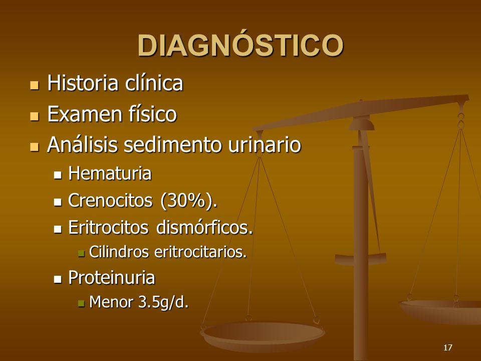DIAGNÓSTICO Historia clínica Examen físico Análisis sedimento urinario