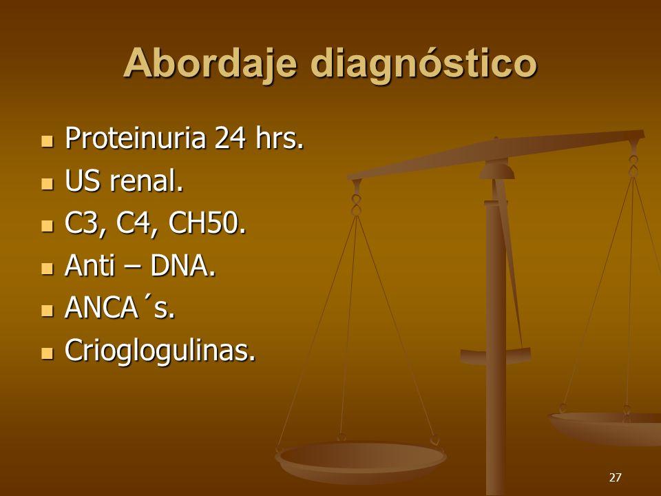 Abordaje diagnóstico Proteinuria 24 hrs. US renal. C3, C4, CH50.
