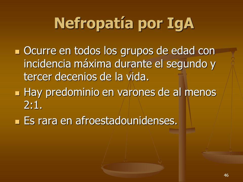 Nefropatía por IgA Ocurre en todos los grupos de edad con incidencia máxima durante el segundo y tercer decenios de la vida.