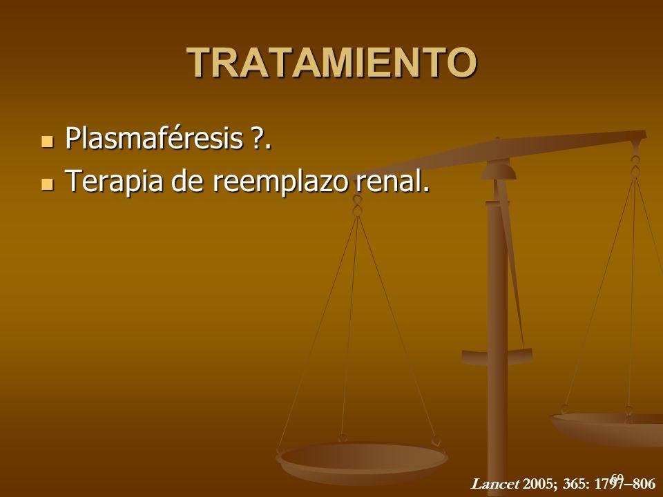 TRATAMIENTO Plasmaféresis . Terapia de reemplazo renal.