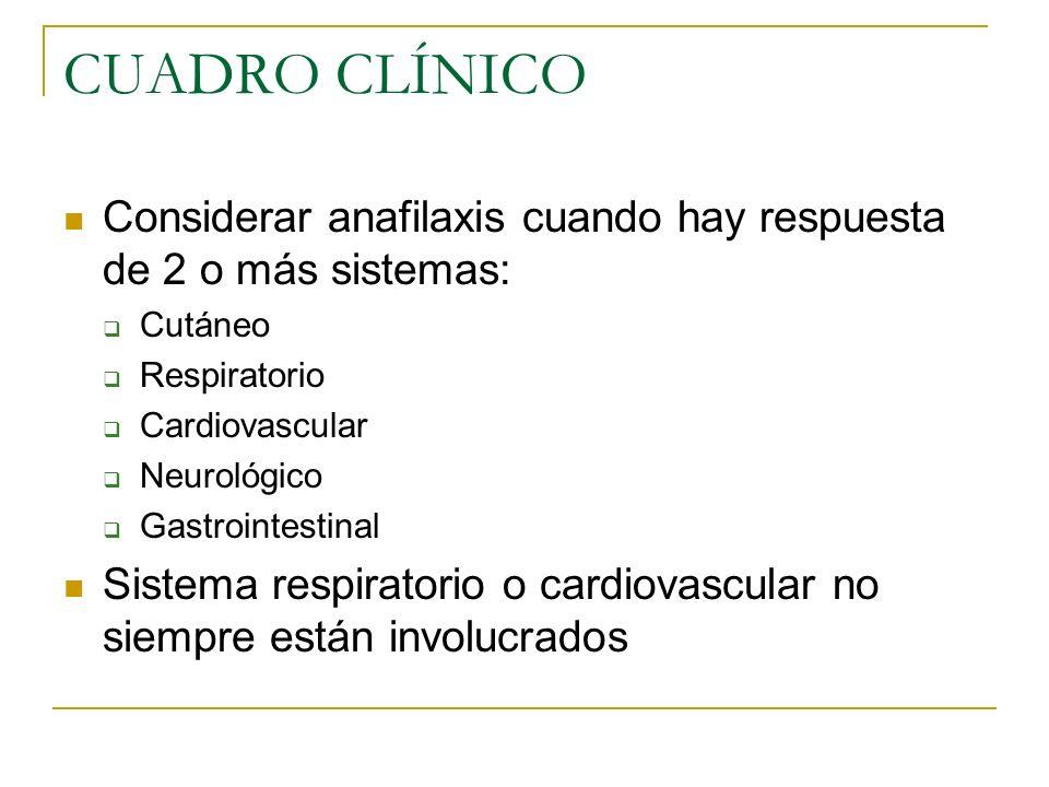 CUADRO CLÍNICO Considerar anafilaxis cuando hay respuesta de 2 o más sistemas: Cutáneo. Respiratorio.