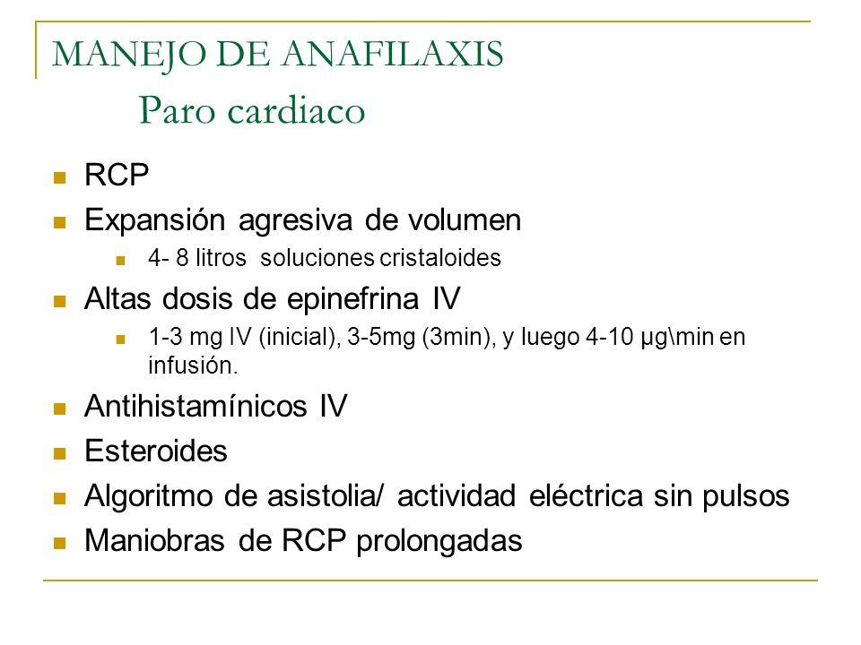 MANEJO DE ANAFILAXIS Paro cardiaco