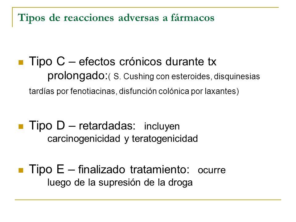 Tipos de reacciones adversas a fármacos
