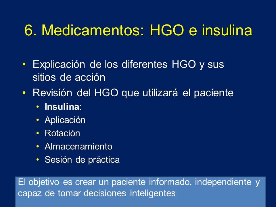 6. Medicamentos: HGO e insulina